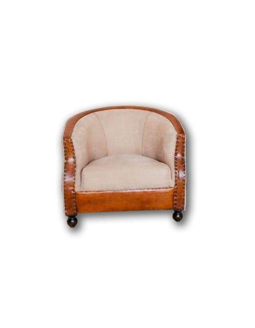 Brown Fotel Sofa Skóra 82 x 68 x 68