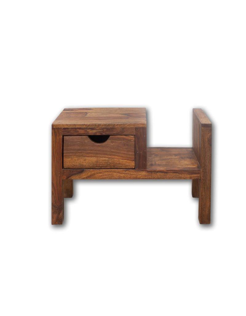 Stolik drewniany nocny / Gazetnik PU Brown
