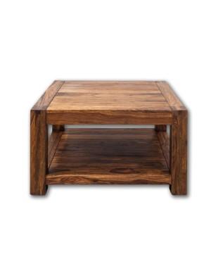 Stolik kawowy 80 x 80 drewniany PU Brown
