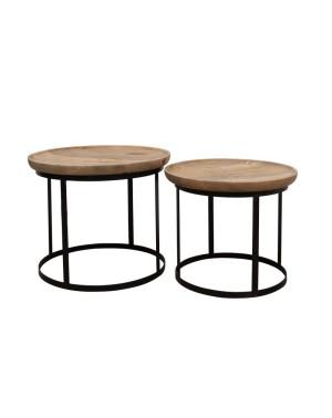 Zestaw 2 okrągłych stolików (śr. blatu 60cm i 52cm) M-8514