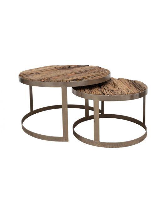 Zestaw 2 okrągłych stolików (śr. blatu 80 cm i 60 cm) M-14778