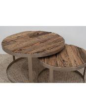 Zestaw 2 okrągłych stolików (śr. blatu 80cm i 60cm) M-14778