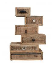 Wieża 6 szuflad Puro - drewno mango M-13910