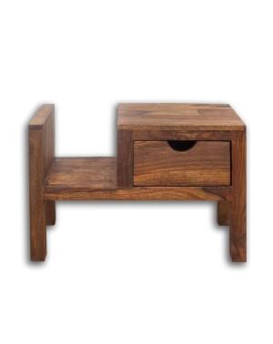 Stolik drewniany nocny / Gazetnik PU Brown / LEWY
