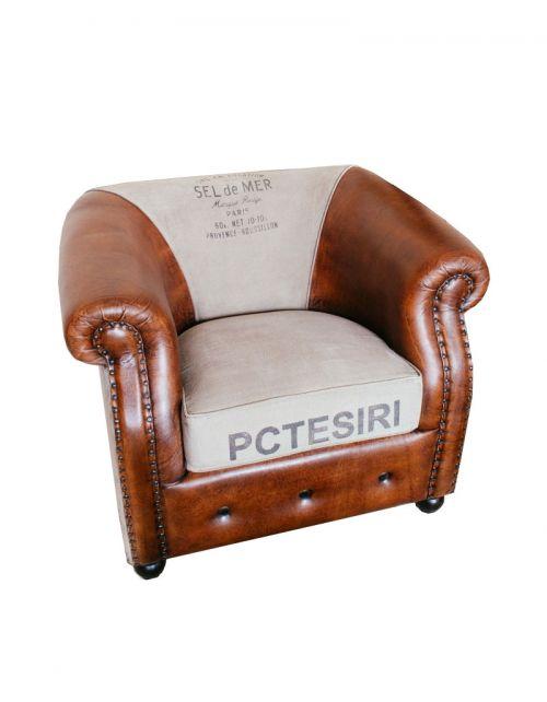 Brown Fotel Sofa Skóra 92 x 80 x 72