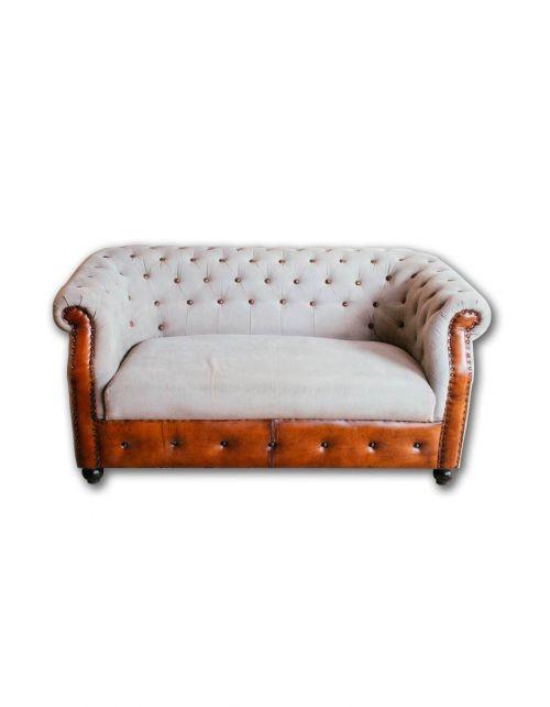Brown Sofa Skóra Duża 152 x 85 x 73