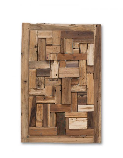 Obraz Brick Walldeco z drewna tekowego 120 x 80 x 5