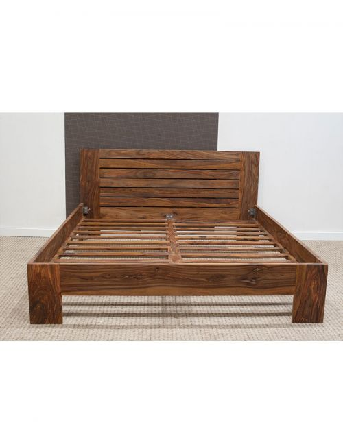 Łóżko drewniane 160x200 Spring PU Brown Palisander