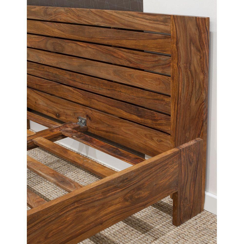 łóżko Drewniane 180x200 Spring Pu Brown Palisander Mandallin