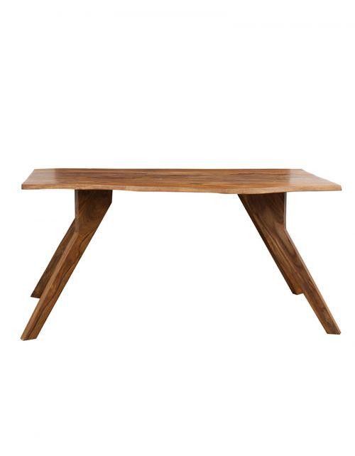 Stół drewniany jadalniany 160cm PU Brown Live Edge