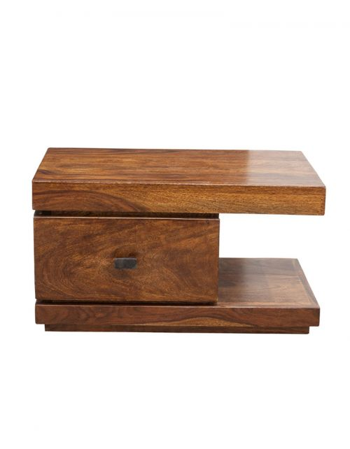 Stolik drewniany nocny State Oiled Matt Palisander z szufladą po lewej stronie