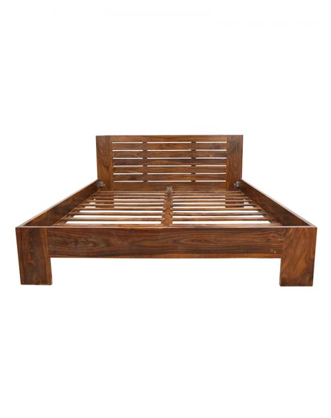Łóżko drewniane 140x200 Spring PU Brown Palisander