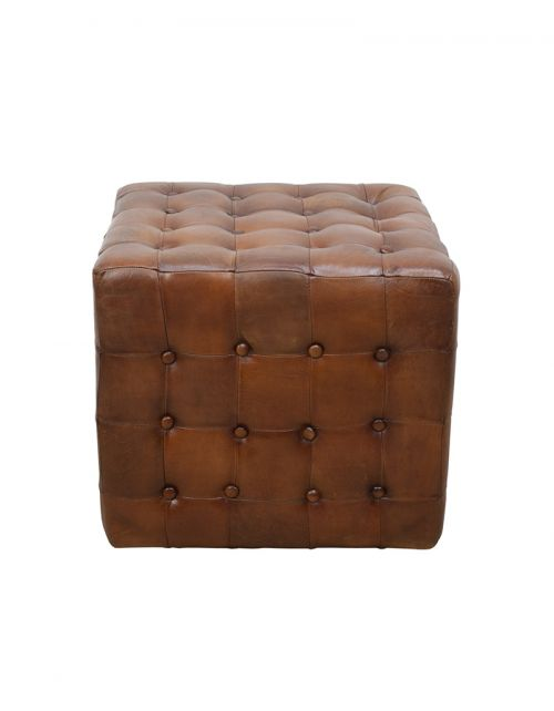 Skórzana pufa Prestigo - 52x52x47