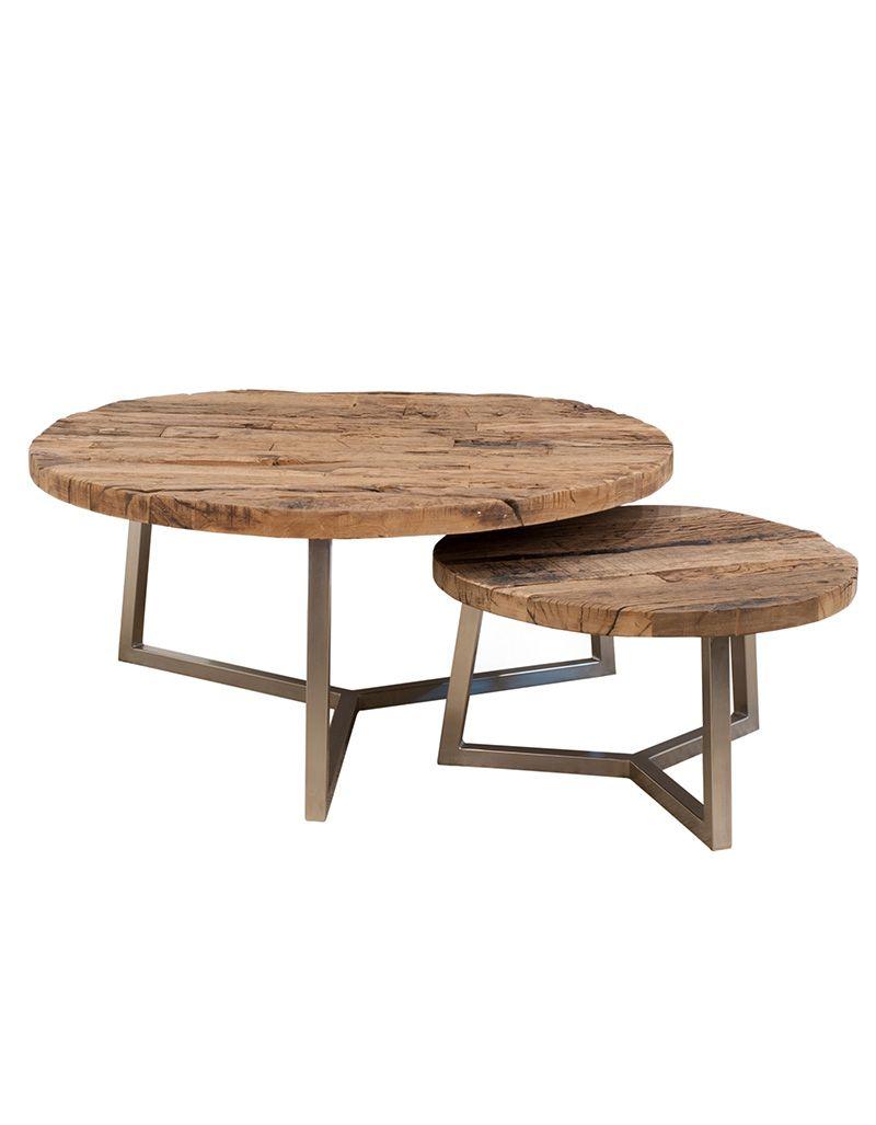Komplet 2 stolików kawowych Rustico - Erosion Wood  (śr. 60 i 100cm)