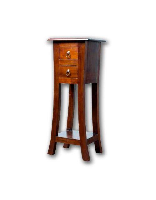 Stolik drewniany pod lampę Klasyczny z dwiema szufladami