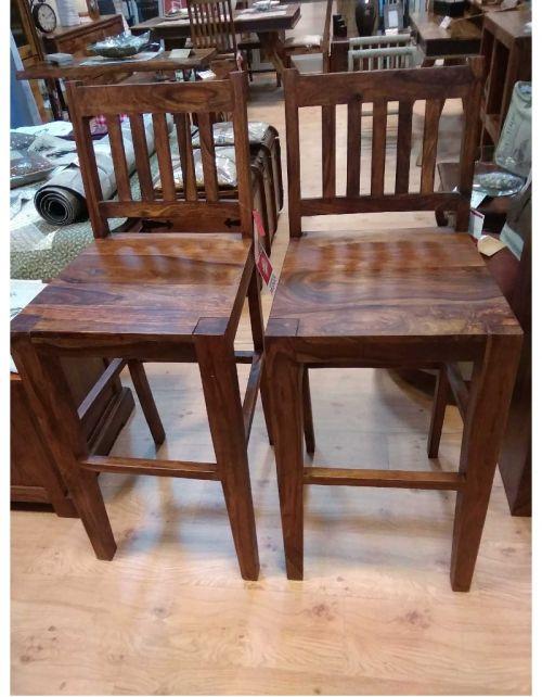 Krzesło Hoker drewniane barowe PU Brown
