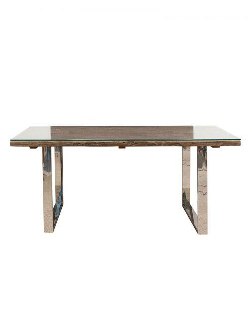 Stół drewniany jadalniany Erosion 200 x 100 x 76 + szkło hartowane 10mm