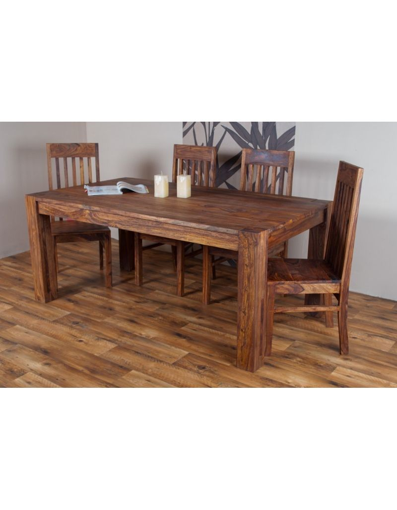 Stół drewniany jadalniany 180/280 cm PU Brown