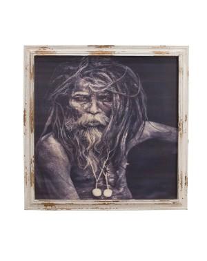 Niesamowity szaman przywódca wioski masajskiej, podczas audiencji w radzie starszych - 79x3x79