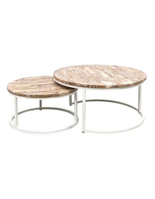 Zestaw 2 okrągłych stolików kawowych Argenta White