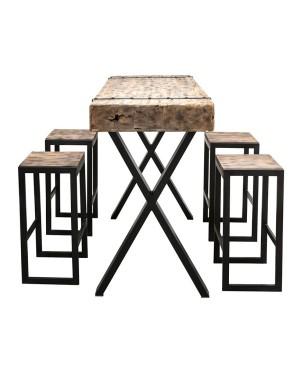 Stół Barowy + 4 stołki Rail Bar Set