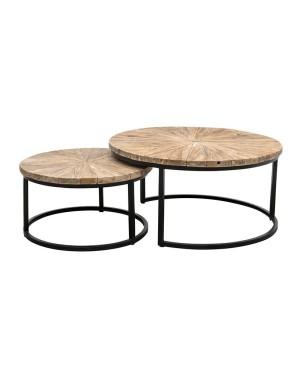 Zestaw okrągłych stolików kawowych Argenta II Teak