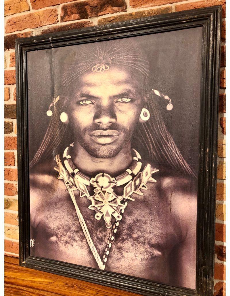 Niesamowity obraz Przywódca Masajów z Kenijskiej wioski  - 75x92