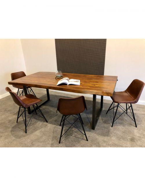 Stół drewniany jadalniany 200 x 100 x 77 OM + 2 zestawy nóg IRON/CHROM