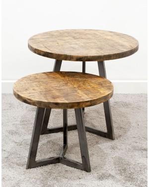 Zestaw 2 postarzanych stolików 50/45 i 40/40