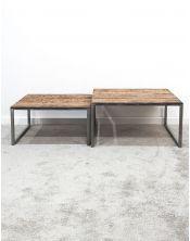 Zestaw 2 postarzanych stolików Rustico 80x80