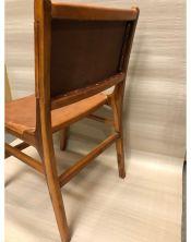 Fotel ze skórą drewno mahoń