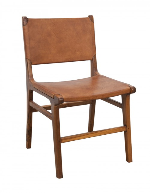 Krzesło z gładką skórą drewno teku