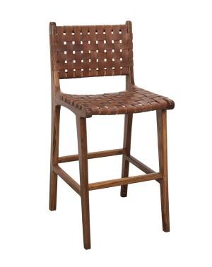 Fotel ze skórą drewno Teak
