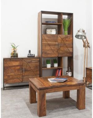 Stolik kawowy 80x80 drewniany PU Brown
