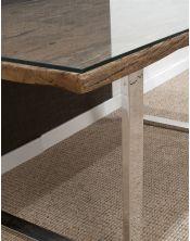 Stół drewniany jadalniany Erosion 180 x 90 x 76 + szkło hartowane