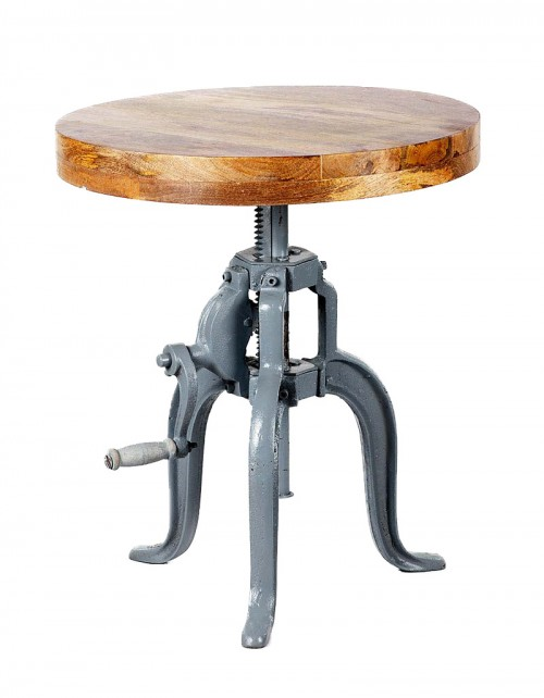 Stołek / siedzisko z drewna mango wys. 45-66cm, śr. 61cm