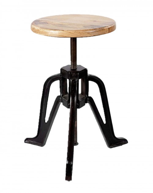 Stołek Surat z drewnianym siedziskiem MANGO