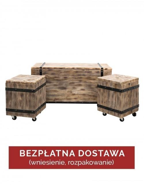 Zestaw 3 Stoliki / Skrzynie drewniane na ubrania Bara S3