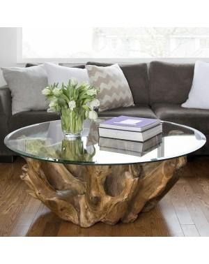 Okrągły stolik kawowy MADURAJ Korzeń tekowy śr. 60cm