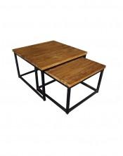 Stolik kawowy RAFA TORAJA Tek 51/60x33/38 zestaw 2 stolików