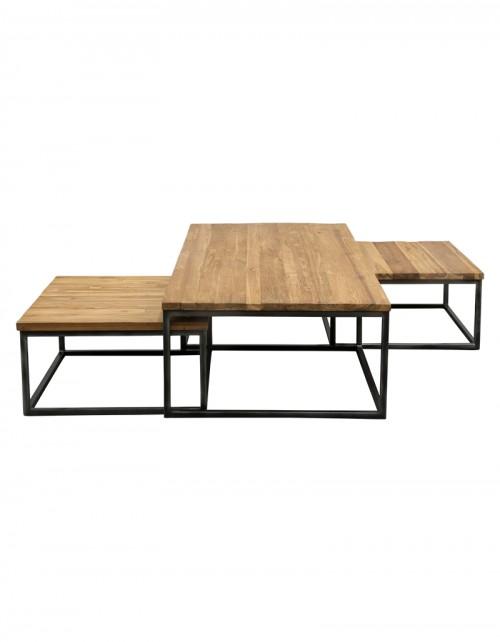 Stolik kawowy RAFA TORAJA Tek 61/131x61/70x33/80 zestaw 3 stolików