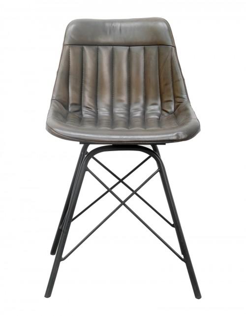 Krzesło Dingore z obiciem skórzanym