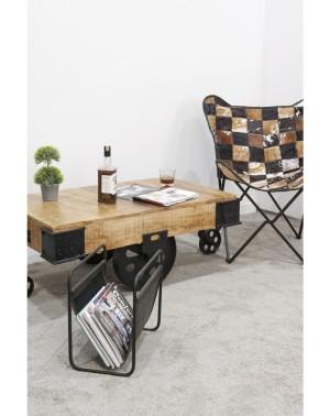 Stolik kawowy na kółkach z drewna mango 44x120x67 Meliard