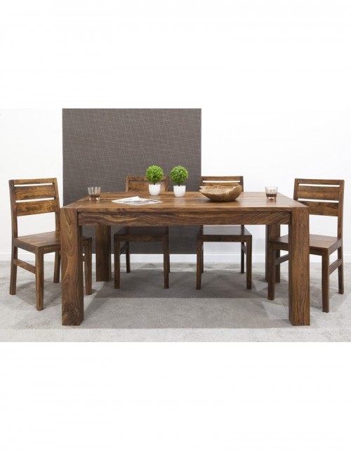 Stół drewniany jadalniany 160/260 cm PU Brown