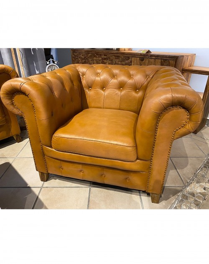 Fotel pikowany, skórzany Brown Exclusive 100x80x73