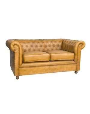 Sofa pikowana, skórzana Brown Exclusive 155x82x71