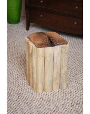 Pufa drewniana z obiciem z koziej skóry
