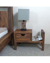 Łóżko drewniane 140 x 200 PU Brown